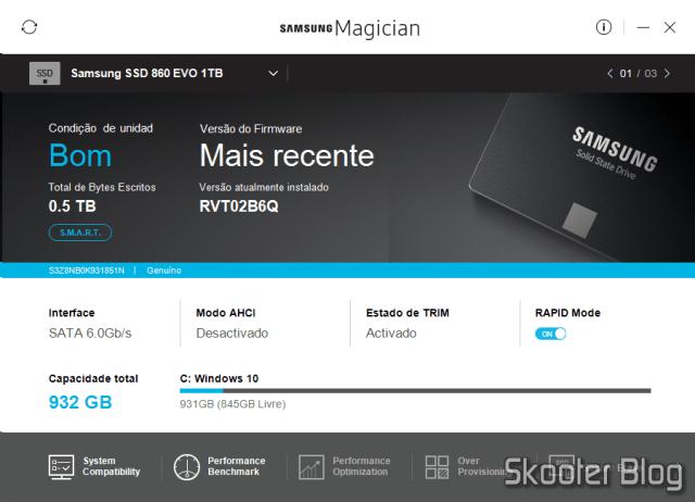 Samsung 860 EVO 1TB 2.5 Inch SATA III Internal SSD (MZ-76E1T0B/AM) no Samsung Magician.