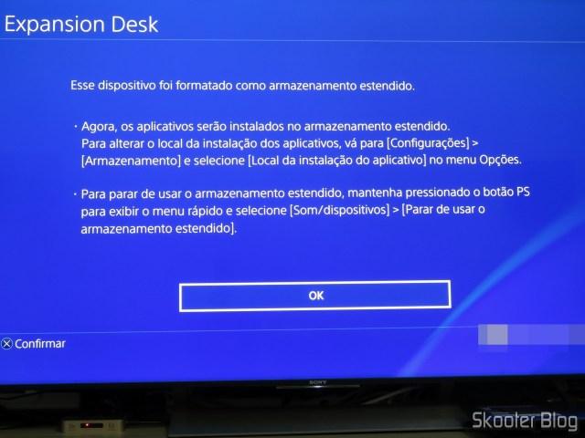 HD Externo Seagate Expansion 8TB formatado no Playstation 4 Pro.