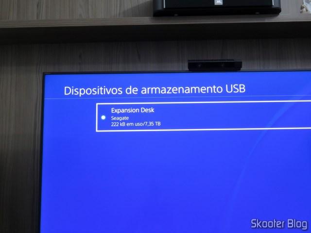 HD Externo Seagate Expansion 8TB pronto para uso no Playstation 4 Pro.