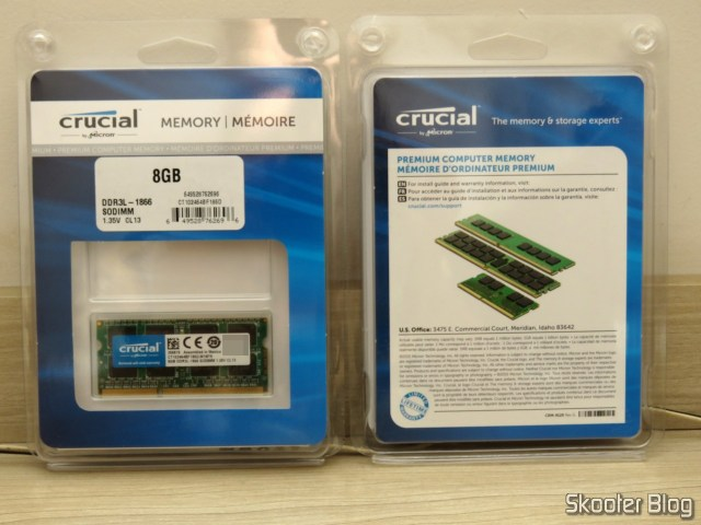 2 Crucial memory modules single DDR3 8GB / DDR3L 1866 MT/s (PC3-14900) Unbuffered SODIMM 204-Pin Memory - CT102464BF186D.
