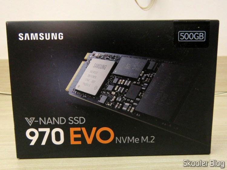 Samsung 970 EVO 500 GB - NVMe PCIe M. 2 2280 SSD (MZ-V7E500BW), on its packaging.