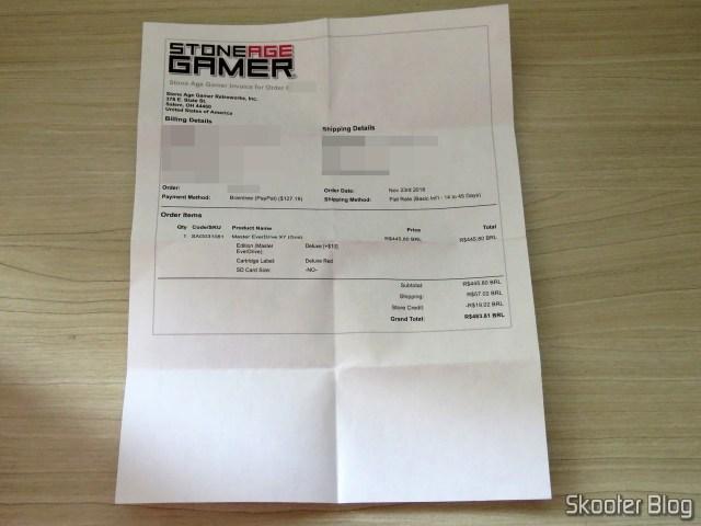 Invoice da Stone Age Gamer com o Master Everdrive X7 Deluxe.