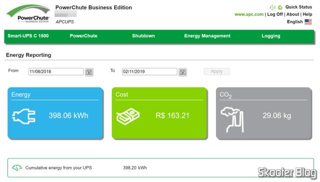 Total de energia consumida, carbono emitido e custo. O custo depende de inserir o valor do kWh nas configurações. Boa sorte calculando isso nessa zona que é a cobrança no Brasil, cheio de impostos em cascata e bandeiras tarifárias.