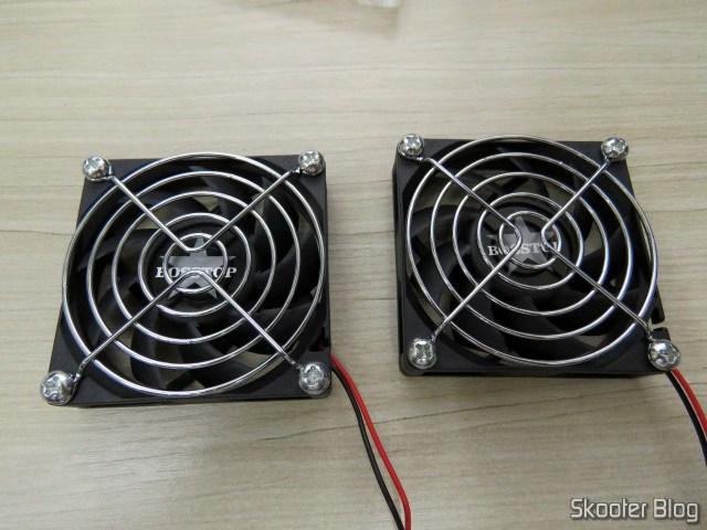 Fans with the installed grids.
