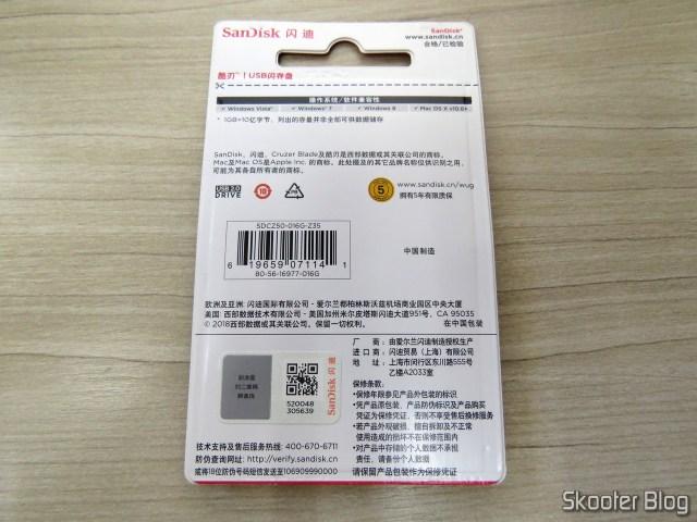 Pendrive Sandisk 16GB SDCZ-G-Z35, em sua embalagem.