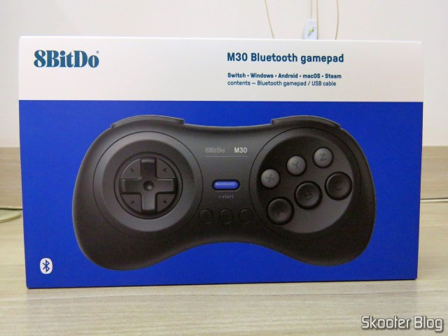 8BitDo M30 Bluetooth, on its packaging.