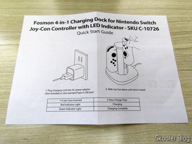 Folheto de Instruções do Fosmon Nintendo Switch Joy-Con Charging Dock, 4-in-1.