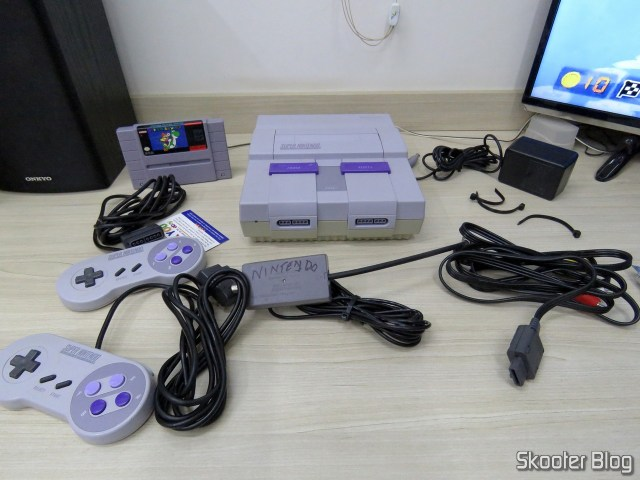 Super Nintendo and its accessories, after unpacked.