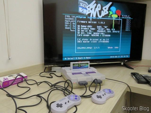 Super Nintendo Original NTSC PCB SHVC-CPU-01 CPU/PPU1/PPU2 2/1/3, em teste após o fechamento e limpeza.
