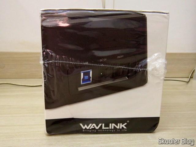 """Wavlink USB 3.0 Dual Bay Docking Station para HDDs e SSDs de 2.5"""" e 3.5"""", em sua embalagem."""