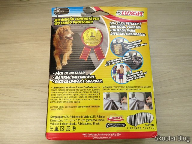 Protective Cover for Back Seat Pet & Car Waterproof Luxcar, on its packaging.