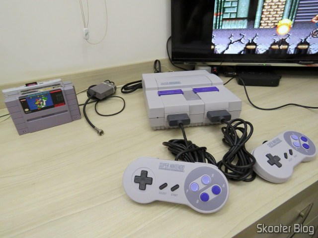 The Super Nintendo ready to be tested.