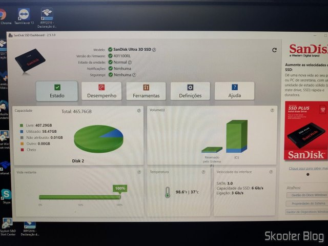 SSD no Sandisk SSD Dashboard.