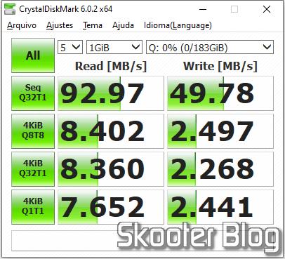 Verification of the Sandisk Ultra 200GB microSDXC Card in CrystalDiskMark.