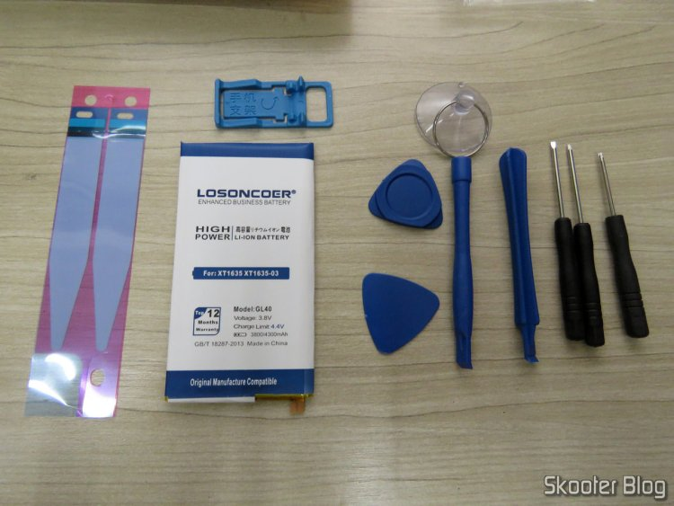 Bateria para Moto Z Play XT1635 Losoncoer GL40 4050mAh, e kit de ferramentas.
