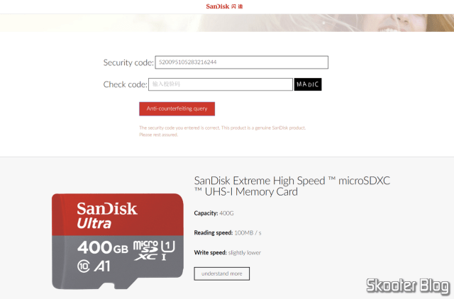 Verification of the Sandisk Ultra 400GB microSDXC Card on the Sandisk website.