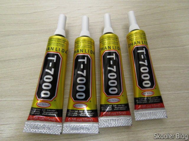 4 unidades da Cola T-7000 Zhan Li Da 15ml Preta Epoxy Líquida Multiuso.