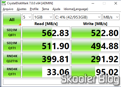 SSD test m.2 2242 KingSpec 1TB NGFF no CrystalDiskMark, running the operating system.