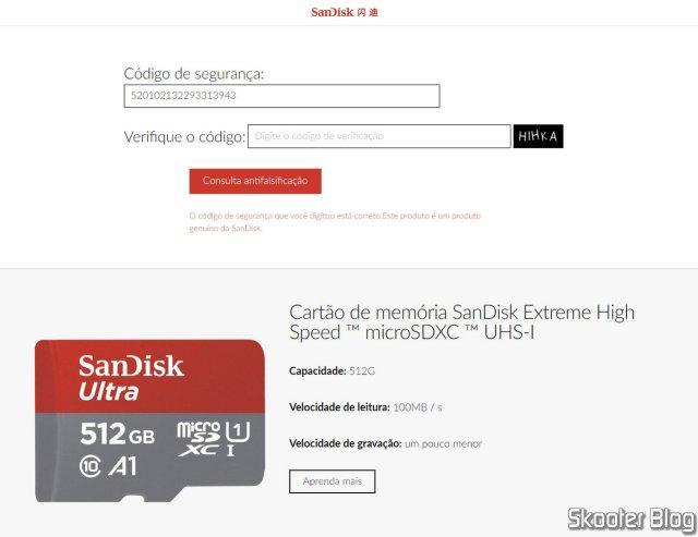 Checking the Sandisk Ultra 512GB microSDXC Card on the Sandisk website.