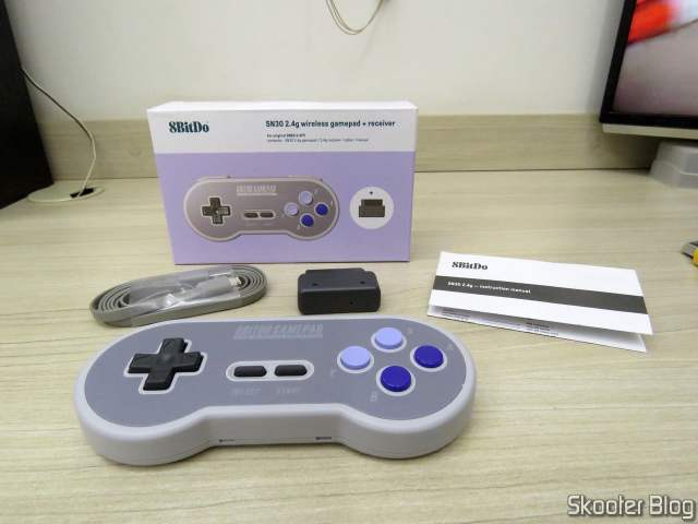 8BitDo SN30 2.4G Wireless Controller for Super Nintendo (SNES) Original, and accessories.