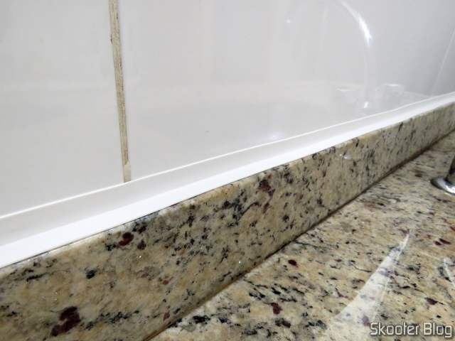 White PVC Adhesive Tape installed in the sink.