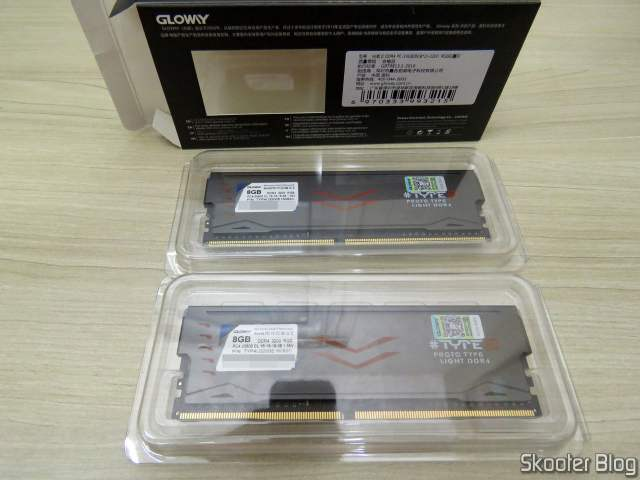 Módulos de Memória Gloway DDR4 16GB (2x8GB) 3200 MHz RGB, e sua embalagem;
