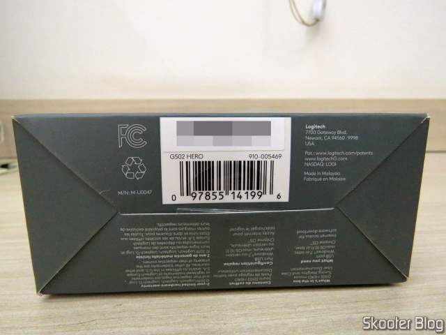 Mouse Logitech G502 Hero, on its packaging;