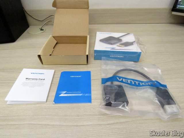 Adaptador de DisplayPort (DP) para VGA Vention, com cartão de garantia e manual de instruções.