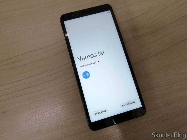 Smartphone Samsung Galaxy A01 Core 32GB Preto - Processador Quad-Core 2GB RAM Câm.8MP + Selfie 5MP. em funcionamento.