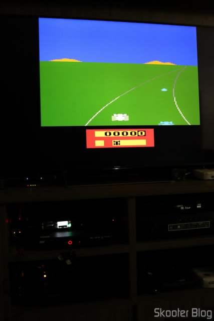 Atari 2600 em funcionamento após a troca do socket.
