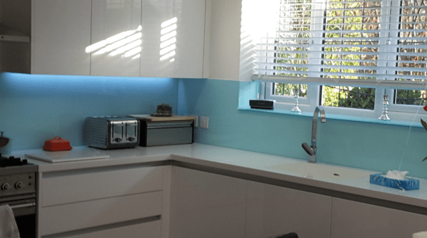 Modern Blue Glass Splashback