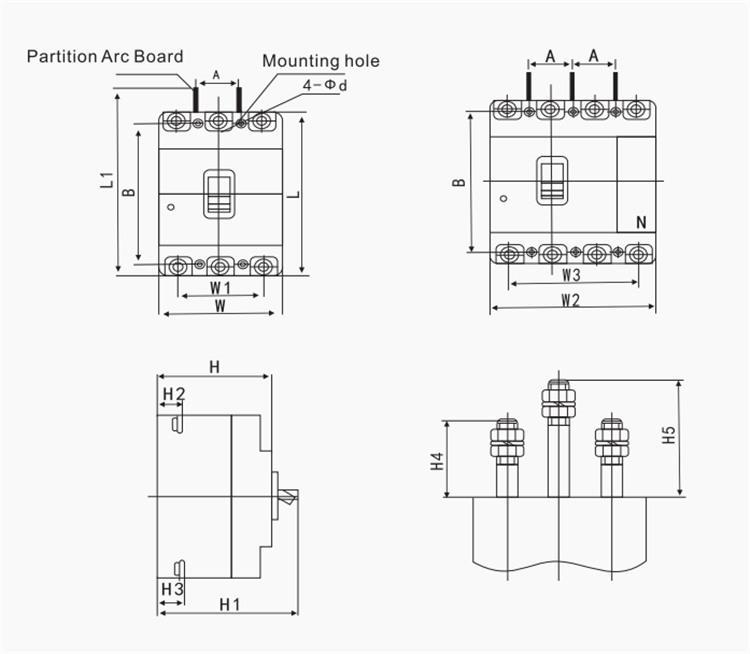 China Customized High Performance 4P MCCB Manufacturers