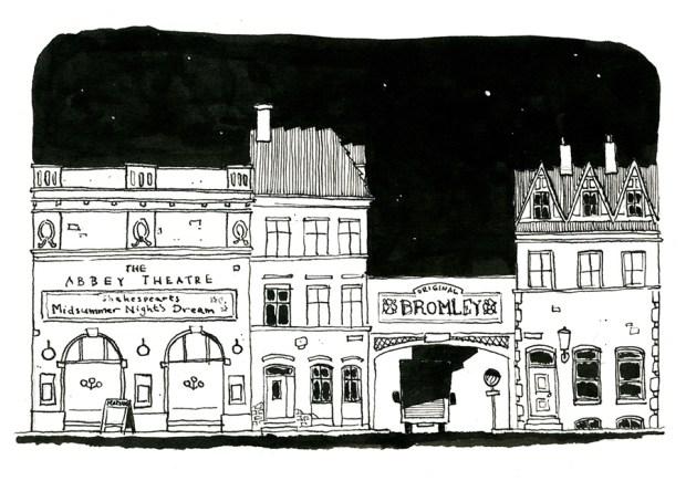 teater streetscape illustration københavn
