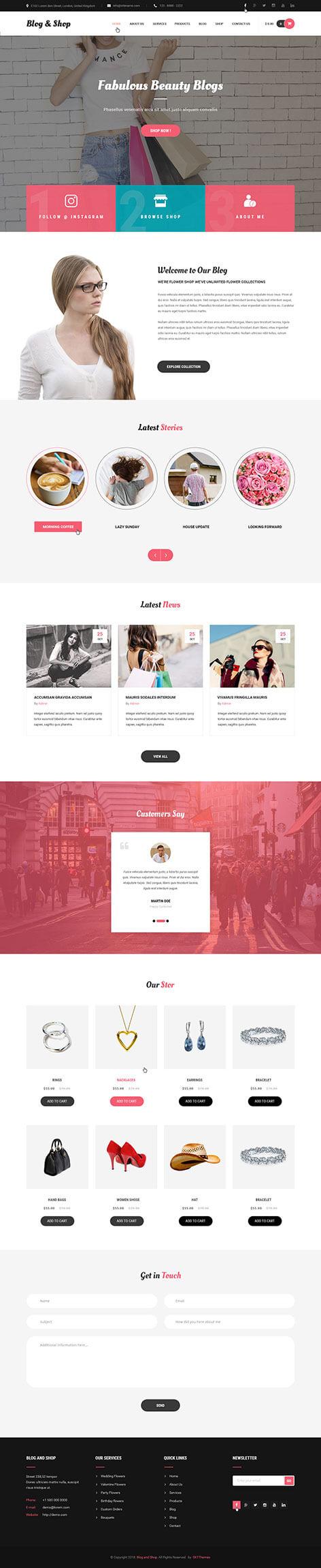 blog and shop WordPress theme