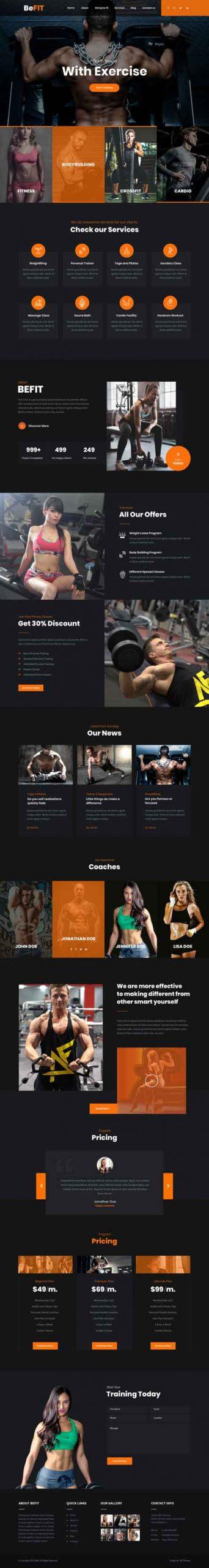 workout WordPress theme