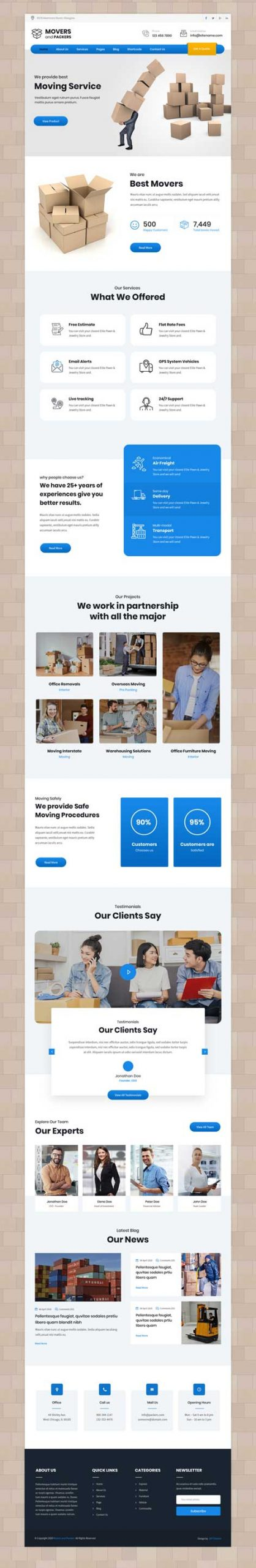 packers and movers WordPress theme