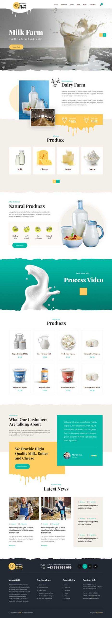 milk products WordPress theme