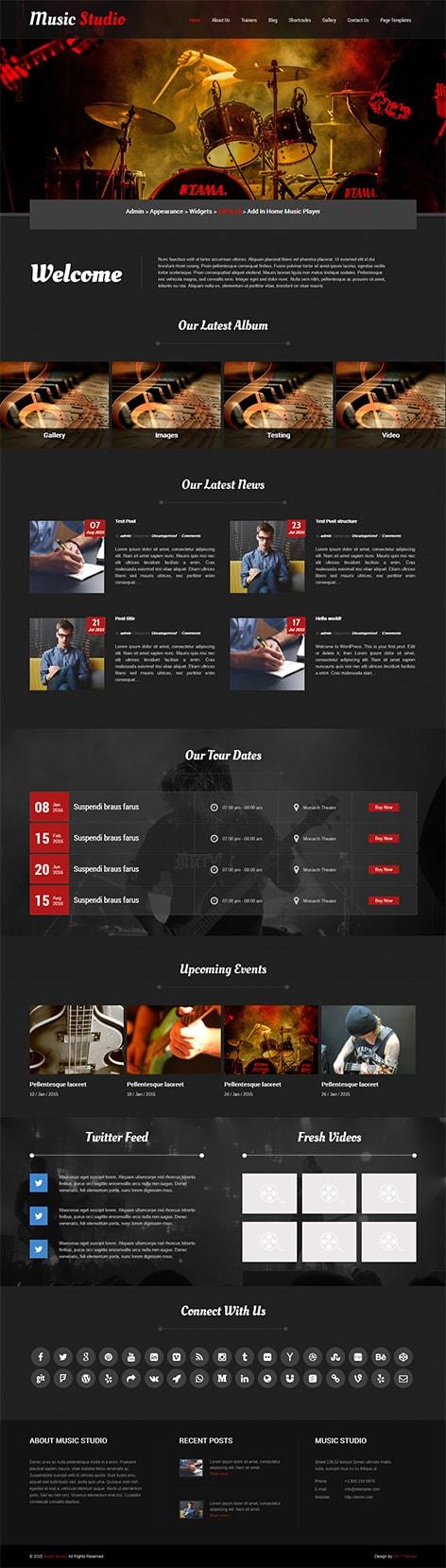 music studio WordPress theme
