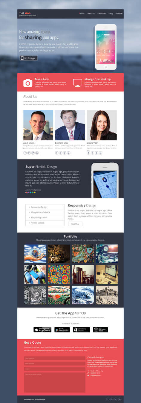the app WordPress theme