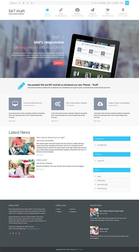 free multipurpose responsive wordpress theme