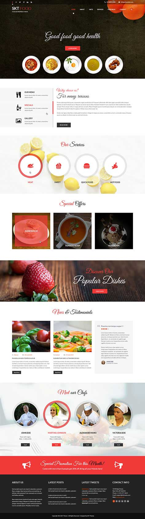 food and recipes WordPress theme