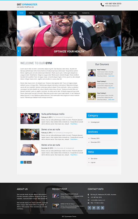 free gym and health club WordPress theme