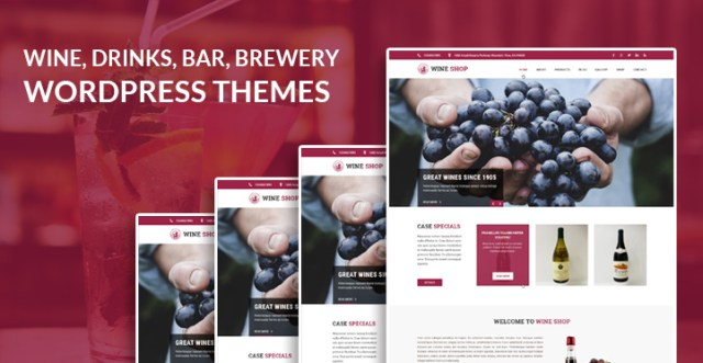 wine drinks bar brewery WordPress theme