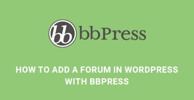 add forum WordPress bbpress