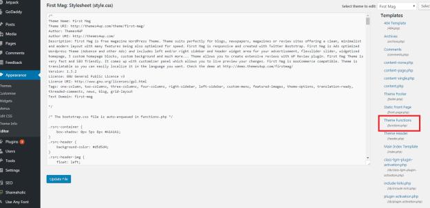 file editor WordPress