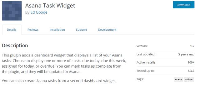 Asana Task Widget