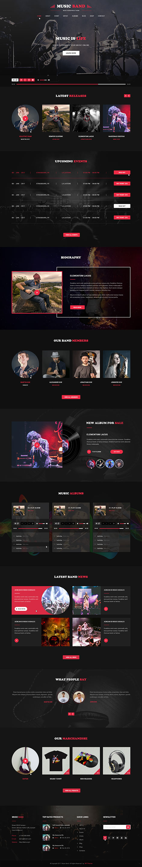 music producer WordPress theme
