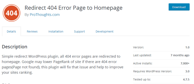 Redirect 404 Error Page to Homepage