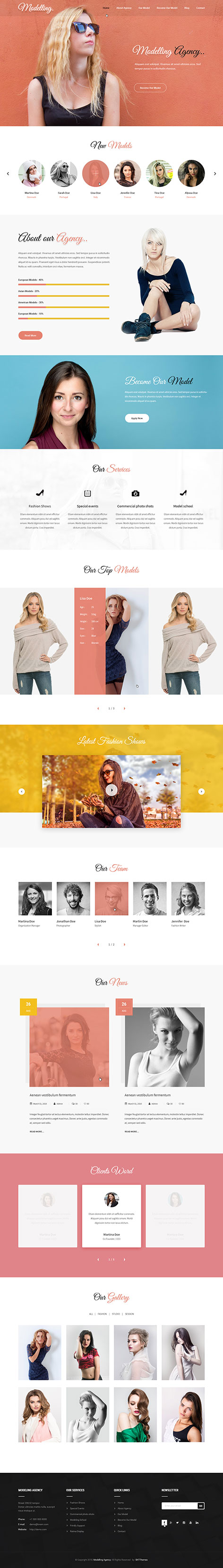 model WordPress theme