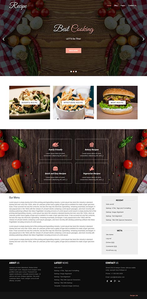 free food WordPress theme
